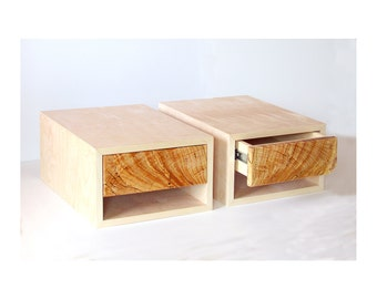 "13"" width, 2 floating bedside tables, Birch with Chinaberry drawer, readybuilt"