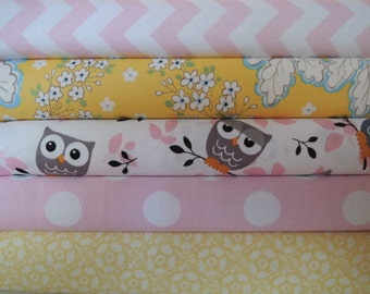 Rag Quilt Kit, Owl and Butterfly, Pink and Yellow, Girly, Easy to Make, Personalized, Bin C