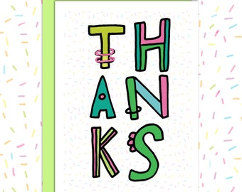 Thanks Cards, Sprinkles, Hand drawn Greeting Card, Blank Thank You Card