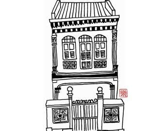 Printable art - Singapore shophouse / hand drawn/ freehand sketch/ illustration/ colouring/ instant / nanyang/ shop house/ peranakan/ card