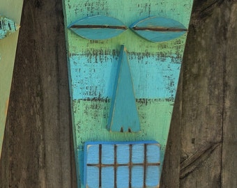 ALEX, Wood Sculpture,Tiki Mask, Primitive Wall Hanging, Tiki Man, Rustic Beach House, Tiki Bar