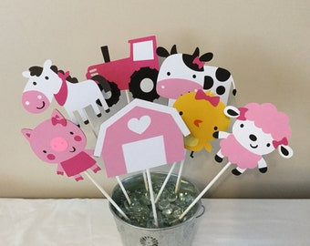 7 Piece pink on the farm Centerpieces Farm Decorations