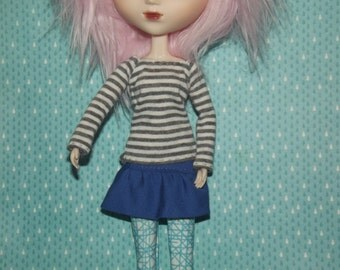 White and grey gray stripped long sleeve shirt for pullip