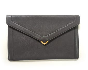 Vintage RARE KORET Leather Envelope Purse Clutch - Gray Leather - Circa 1950s