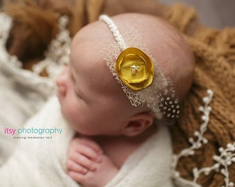 Lilia Newborn Headband Tieback. Ready To Ship Baby Tieback.Satin Flower and Feather Newborn Tieback.Newborn Photography Prop.RTS