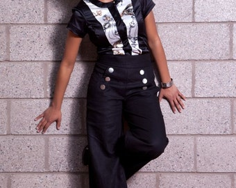 Zoe  Pant (Linen/Rayon) - Wide Leg Sailor Pant with Pockets