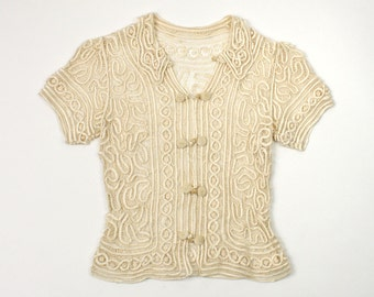 1930s ribbon lace blouse • deco era ivory silk top