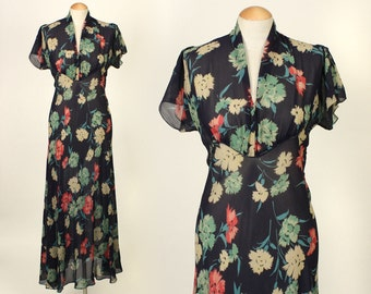 1930s chiffon dress • dark floral sheer vintage gown with puff sleeves