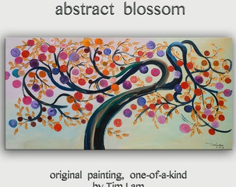 "Gold Texture leave art, Abstract tree blossom, Colorful Home Art, modern vivid acrylic painting, huge ready to hang, 48"" x 24"""