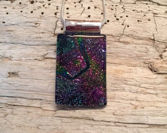 Dichroic glass jewelry, Dichroic glass, Dichroic Glass Pendant, Fused Glass Jewelry, handmade dichroic glass, glass pendant, glass