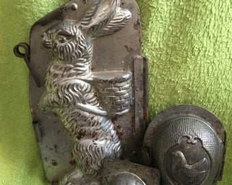 Old Vintage or Antique French or German Metal Easter Bunny Rabbit with Basket Chocolate Mold Easter Decor or Gift for Collector