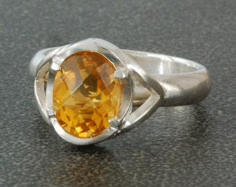Oval Citrine Ring | Sterling Silver | Oval