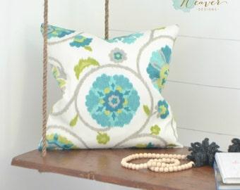 "Indoor Outdoor teal pillow cover 18"""