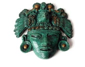 Mayan Aztec Inca Vintage Mask/Wall Plaque/ Crushed Malachite/ Mexican Folk Art Mask/ Turquoise Gold