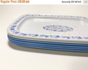 HALF OFF Vintage Small Metal Blue White Floral Trays Coasters Snack Trays Wedgewood
