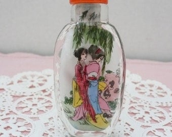 Handmade, Reverse Painted Glass, Chinese Snuff Bottle with Gift Box