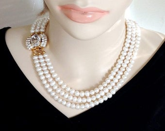 Ashira 3 Strand White Fresh Water Pearls Statement Necklace - Evening / Gala / Show Piece Necklace - Side Swarovski Clasp