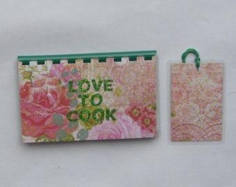 Handmade Love to Cook Green blank Recipe book