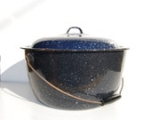 "RESERVED for Linda--Vintage 15"" x 8"" Enamel Canning Pot Pan, Lid Handle, Blue Black Speckled Large"