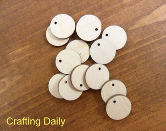 """Wood Earring Circle Blanks Disc Jewelry Shapes Cutouts Pendant Unfinished Wood 3/4"""" (19mm) 1 Hole - 25 Pieces"""