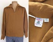 1970's Brown Hippie Top Men's Vintage Shirt Size Large by Maeberry Vintage