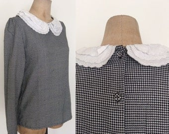 1980's B&W Houndstooth Top w/ Triple Collar Button Up Back Size Small Medium by Maeberry Vintage