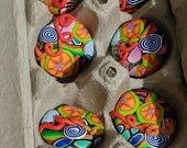 Final Payment ~  Polymer Clay Cabinet Knobs, Set of 10 OOAK Handmade, Bright Colors, 1.25 to 1.5 Inch Wide
