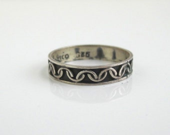 925 Sterling Silver Band Ring - Vintage Mexico, Size 7