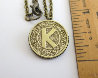 Oakland Pendant Necklace - 1945 Transit Token, Repurposed Vintage Coin