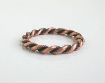 Solid Copper Band Ring - Vintage Textured Rope Design- Size 5 1/4