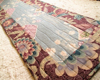 Quilted Asian Inspired Zen Minimalist Table Runner