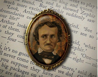 Edgar Allan Poe Brooch, Literary, Victorian Author Pin, Steampunk, Gothic, Arthur Conan Doyle, Mystery Lover Gift, Teachers , Writers