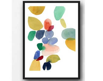 Autumn series, colorful watercolor print, Abstract watercolor painting Watercolor print, colorful home decor