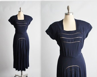 STOREWIDE SALE 40's Dress // Vintage 1940's Navy Rayon Peekaboo Swing Day Dress M