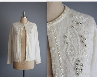 STOREWIDE SALE 50's Beaded Cardigan // Vintage 1950's Beaded Ivory Lambswool Angora Garden Party Cardigan Sweater XL