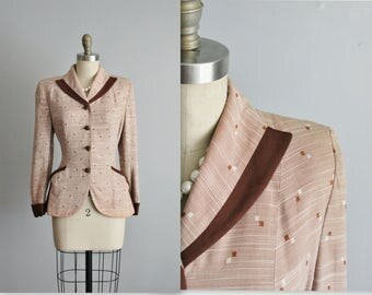 50's Jacket // Vintage 1950's Printed Fitted Hourglass Jacket S