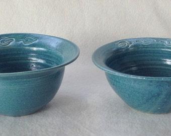 Leaf Stamp Bowl Set (set of 2)   #leaf #bowls #blue