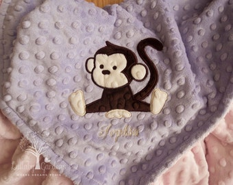 Personalized Baby Gifts, Monkey Minky Baby Blanket, Baby Girl Gift, Baby Girl Blanket, Personalized Minky Baby Blanket, Custom Baby Blankets