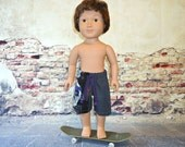 Board shorts 18 inch boy doll clothes summer pirate skull dark grey american made girl purple long tie black boardshorts