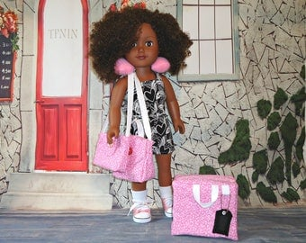 Pink Luggage set 18 inch doll clothes American made girl suitcase overnight bag carry on purse neck pillow