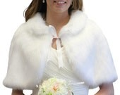 Black Friday Bridal fur capelet White for Women, faux fur wrap, Winter white fur cape, faux fur shawl and wraps