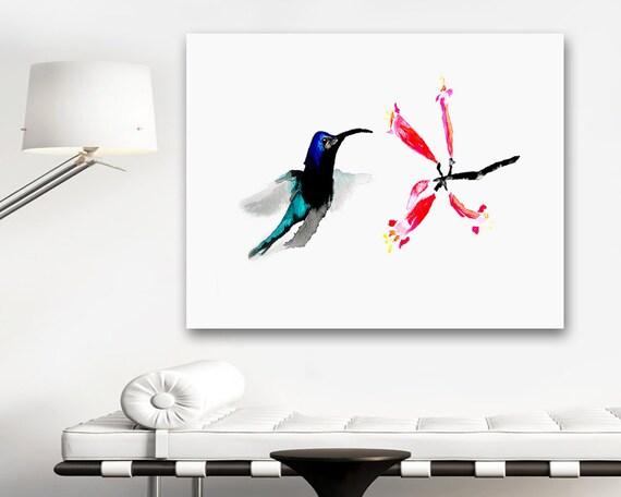 Watercolor Painting - Hummingbird Honeysuckle Bird Art Floral Sumi-e Art Print