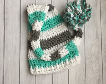 Long tail hat, elf hat, crochet elf hat, baby hat, newborn elf hat, newborn hat, baby elf hat, crochet baby hat, baby boy hat, stocking hat