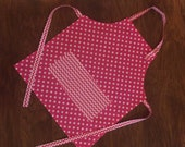 Hot pink polka dot apron 2, childs apron, kids apron, children's aprons, small apron, little apron, toddler apron, cooking apron, art smock