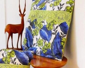 Perfect RETRO Campervan Beach Hut cushions! genuine 50s / 60s Barkcloth Vintage Fabric Lime/  blue