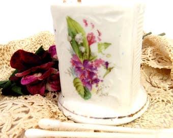 Vintage Porcelain Match Holder with Striker, Q-Tip, Toothpick, Hat Pin Jar, White with Pink & Green Hand Painted Floral Design