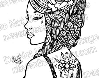 digital download print your own coloring book outline page pretty tattooed pin up girl with - Pin Up Girl Coloring Pages