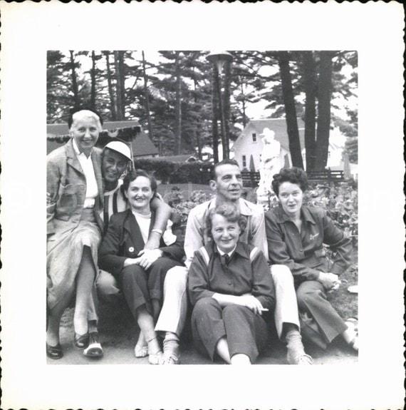 Vintage Photo, Men and Women in Park, Black & White Photo, Snapshot, Found Photo, Old Photo, Vernacular Photo, 1940's Photo    *0218