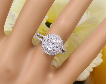14K White Gold Round Cut Forever One Moissanite and Diamond Engagement Ring Deco Double Halo, Bridal, Wedding, Split Band, Annivesary  2.60c