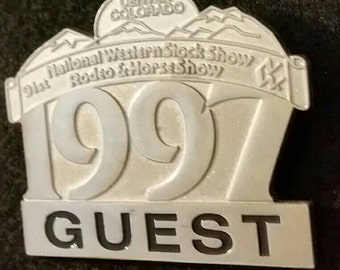 Vintage 1997 National Western Stock Show GUEST pin, Rodeo and Horse Show, Denver CO